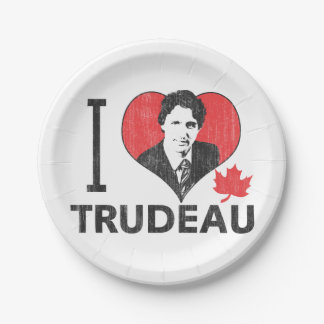 I corazón Trudeau Plato De Papel De 7 Pulgadas