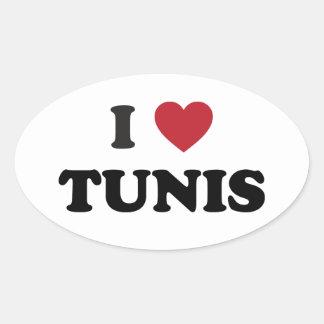 I corazón Túnez Túnez Colcomanias De Oval Personalizadas