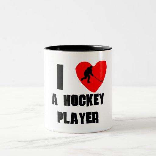 I corazón un jugador de hockey tazas de café
