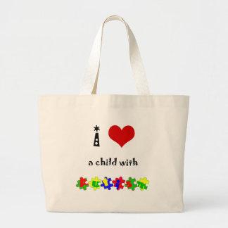 I corazón un niño con autismo bolsas
