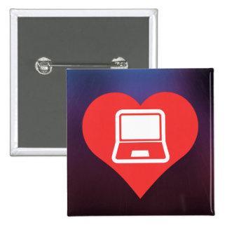I corazón usando icono de los ordenadores pin cuadrada 5 cm