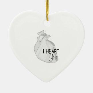 I corazón usted adorno navideño de cerámica en forma de corazón