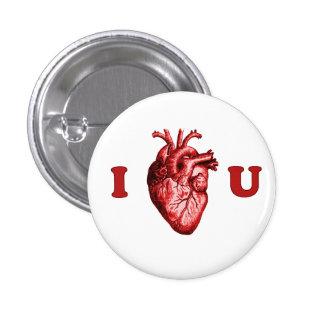 I corazón usted corazón anatómico - blanco y rojo pin redondo de 1 pulgada