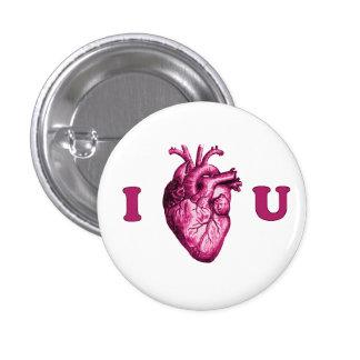I corazón usted corazón anatómico - blanco y rosa pin redondo de 1 pulgada