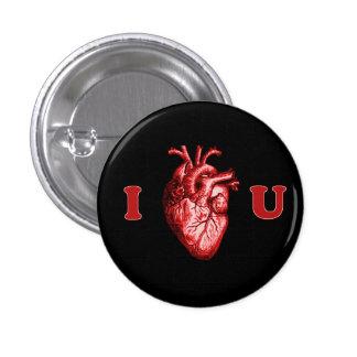 I corazón usted corazón anatómico - negro y rojo pin redondo de 1 pulgada