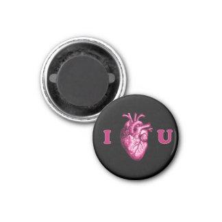 I corazón usted corazón anatómico - negro y rosa imán redondo 3 cm