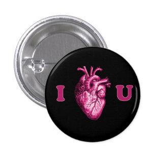 I corazón usted corazón anatómico - negro y rosa pin redondo de 1 pulgada