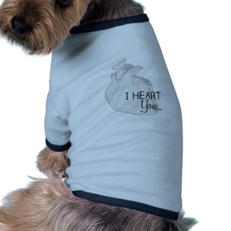 I corazón usted camiseta con mangas para perro