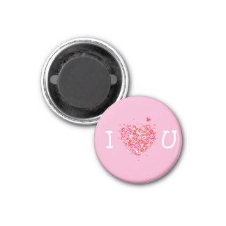 I corazón usted - rosa y blanco imán redondo 3 cm