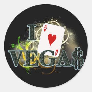 I corazón Vegas Pegatinas Redondas