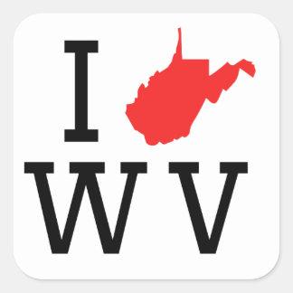 I corazón Virginia Occidental Pegatinas Cuadradases Personalizadas