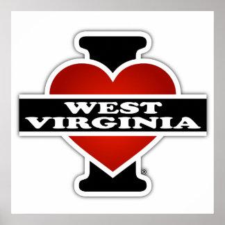 I corazón Virginia Occidental Póster