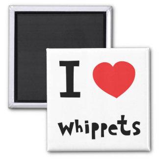 I corazón Whippets Imán Cuadrado