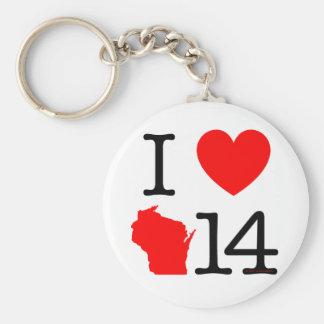 I corazón Wisconsin 14 Llavero Redondo Tipo Pin