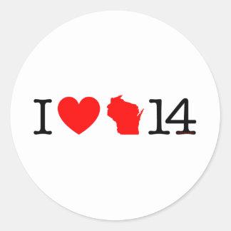 I corazón Wisconsin 14 Etiqueta Redonda