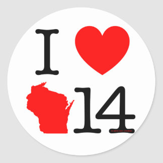 I corazón Wisconsin 14 Pegatinas Redondas