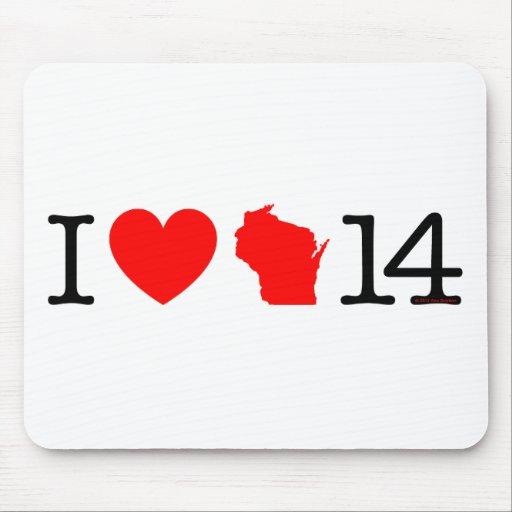 I corazón Wisconsin 14 Tapete De Ratones