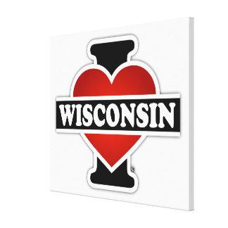 I corazón Wisconsin Impresión En Lienzo Estirada