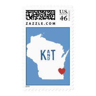 I corazón Wisconsin - sello adaptable de la ciudad