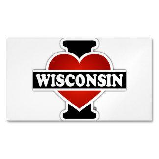 I corazón Wisconsin Tarjetas De Visita Magnéticas (paquete De 25)