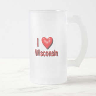 I corazón Wisconsin Taza De Cristal