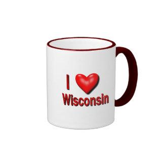 I corazón Wisconsin Taza De Dos Colores