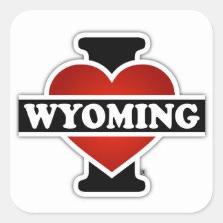 I corazón Wyoming Pegatina Cuadrada