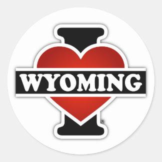 I corazón Wyoming Pegatina Redonda