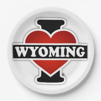 I corazón Wyoming Plato De Papel De 9 Pulgadas