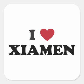 I corazón Xiamen China Calcomanía Cuadradase