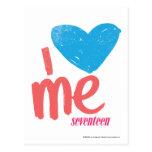 I corazón yo aguamarina/rosa tarjetas postales