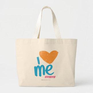 I corazón yo naranja/aguamarina bolsa tela grande