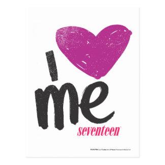 I corazón yo púrpura tarjetas postales