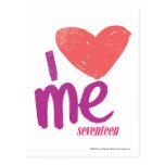 I corazón yo rosado/púrpura postal