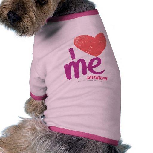 I corazón yo rosado/púrpura camiseta con mangas para perro