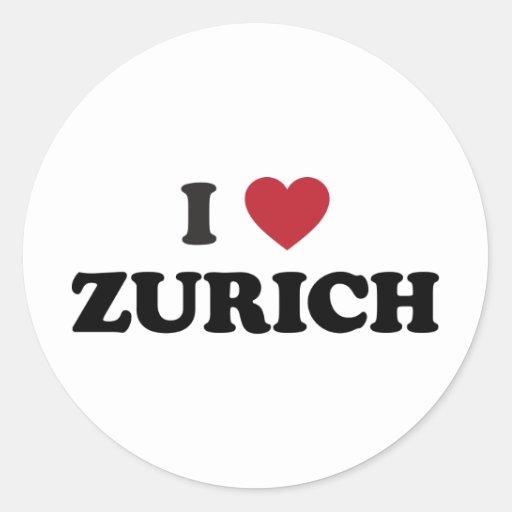 I corazón Zurich Suiza Pegatina Redonda