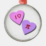 I corazones del caramelo del corazón pi adorno redondo plateado