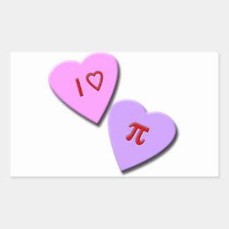 I corazones del caramelo del corazón pi rectangular pegatinas