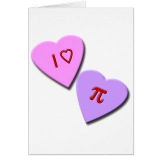 I corazones del caramelo del corazón pi tarjeta