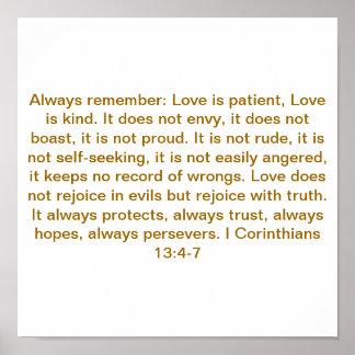 I Corinthians 13: 4-7 Poster