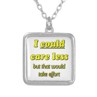 I COULD CARE LESS SQUARE PENDANT NECKLACE