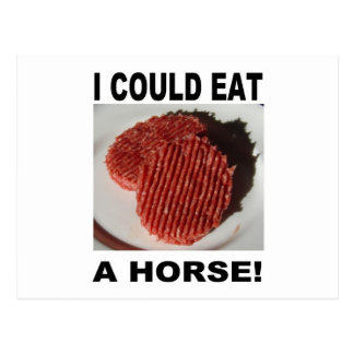 I could eat has horse - beef burgers postcard