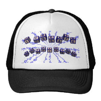 I create happiness toy blocks in blue. trucker hat