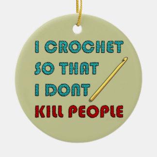 I Crochet, Double-Sided Ceramic Round Christmas Ornament