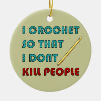 I Crochet, Double-Sided Ceramic Round Christmas Ornament