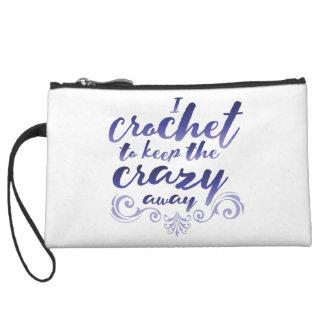 I Crochet to Keep the Crazy Away Purple Wristlet Wallet