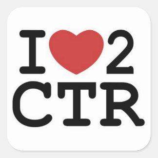 I CTR del corazón 2 Calcomanías Cuadradas Personalizadas