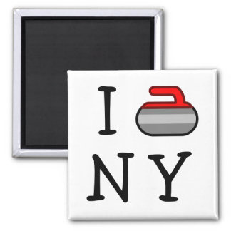 I Curl NY 2 Inch Square Magnet