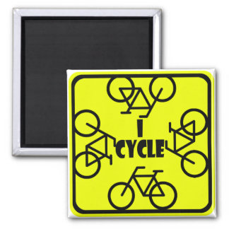 I CYCLE (BICYCLE) 2 INCH SQUARE MAGNET
