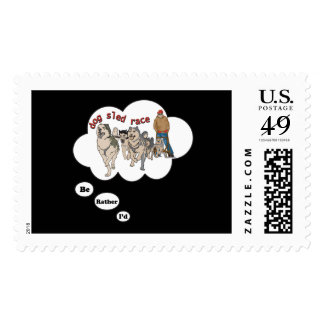 I d rather be Dog Sled Racing Postage